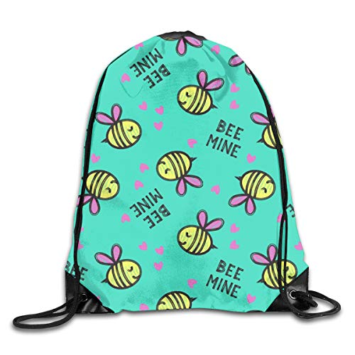 Drawstring Backpack Bags Bee Mine Teal Valentines Day Sport Athletic Gym Sackpack for Men Women (Teal Womens Tennis-schuhe)