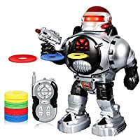 SGILE Kids Remote Control Robot Toy - Fires Soft Discs, Dances, Talks - RC Programmable Interactive Funny Robotic with Led Eyes, Gift for Boys Girls