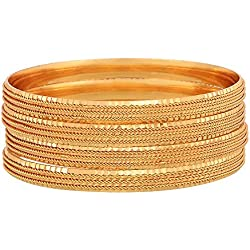 Zeneme Gold-Plated Bangle Set For Women And Girls (2.8)