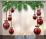 ABAKUHAUS Natale Tenda, Natale Tradizionale Tema Stagione Inverno Grafico Ramo di Conifera, Salotto Camera da Letto Tende per Finestra Due Pannelli Set, 280 x 175 cm, Multicolore