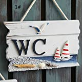 BEVERLY MEMORY Wooden Door Sign Nautical Decor WC Toilet Signs Wall Boat Ship Beach Hanging Ornament Plaques Signs Home Decor (Style A)