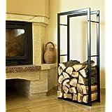 Porte bois de chauffage 100cm noirCorbeille bois Etagère bois de cheminée Support bois de cheminée Etagère bois Etagère