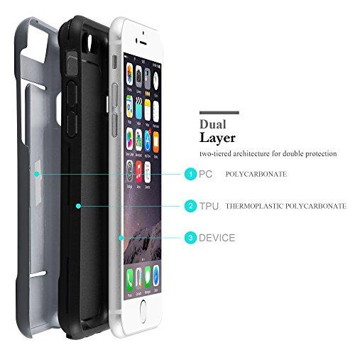 Apple iPhone 6 / 6S Hybrid Hülle in SILBER von Cadorabo - Hard Case TPU Silikon Schutz-hülle Heavy Duty Outdoor Design – Handy-hülle Bumper Case Cover mit Karten-Fach ARMOR-SILBER