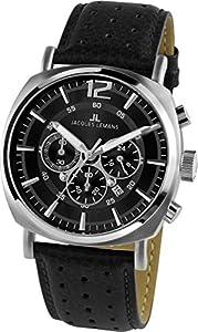 Reloj de caballero JACQUES LEMANS Lugano 1-1645A de cuarzo, correa de piel color negro (con cronómetro) de Jacques Lemans