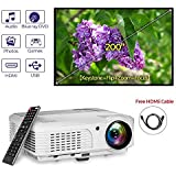 EUG 3600 Lumens HD LED Projector 1080P With Built-in Speakers,Front Rear Ceiling Projector With Zoom Keystone Flip Remote,Indoor Outdoor Movie Home Theater Projector HDMI VGA AV USB RCA Audio In/Out