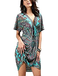 34fb0c1cfd OCTOPUSIR Ladies Beach Wraps and Cover ups 2019 Women's V-Neck Bohemia  Beach Dress Short
