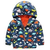 Little Boys Jacket Kids Hooded Windproof Zipper Cartoon Dinosaur Coat (Dark Blue)