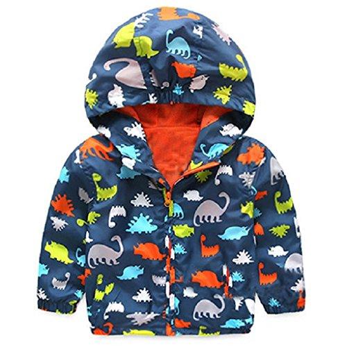 Kinder Jacke Baby Jungen Dinosaurier Winddichter Mantel mit Kapuze (Dunkelblau)