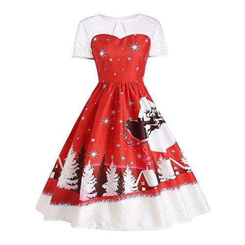KPILP Kleid Damen Chirtstmas Vintage Oansatz A-Linie Printed Kurzarm Swing Weihnachts Cocktailkleid(Rot,EU-50/CN-4XL