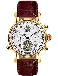 André Belfort 410001 - Reloj analógico de caballero automático con correa de piel marrón - sumergible a 50 metros