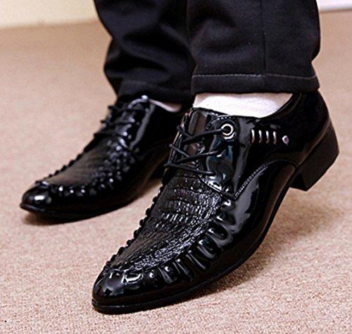 Nspx Hombres Hombres Zapatos Casuales Hombres Zapatos De Hombre De Cocodrilo Trajes De Boda De Moda Zapatos Zapatos Oxford Vestido De Banquete, 44 Negro-41