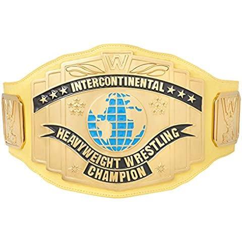 Official WWE Authentic Unisex WWE Yellow Intercontinental Championship Replica Title Belt  One size Multicoloured by WWE Authentic Wear