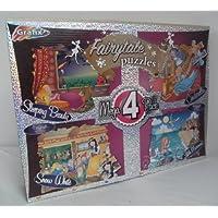 MEGA 4 Pack de Princesa Cuento De Hadas PUZLES - Cenicienta, Pequeña Sirena, BLANCA NIEVE Y BELLA DURMIENTE