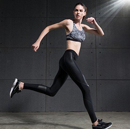 qutool Donna Pantaloni Yoga Sport leggings Leggings da corsa pantaloni da fitness nero