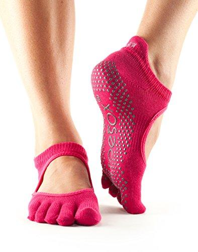 ToeSox, calzini antiscivolo con dita, adatti per sbarra, yoga, pilates, fitness,1paio Fuchsia