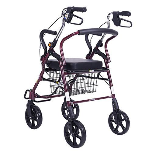 Leichter Rollator mit Vier Rädern mit Sitz, Allradhilfe, mobilem Gehgestell und Ruhesitz für ältere Menschen, Gehstabilisator für Behinderte, verstellbar, faltbar -