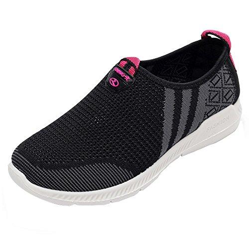 Chaussures de Sport Femmes ELECTRI Mocassins Femme Chaussures de Course Sports Fitness Gym Athlétique Baskets Sneakers Pas Cher (39 EU, Noir 1)