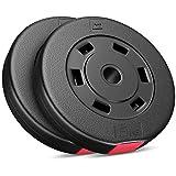 Hop-Sport Hantelscheiben 5, 10, 20, 30 kg Kunststoff Gewichte Hanteln Set Gewichtsscheiben (2 x 5...