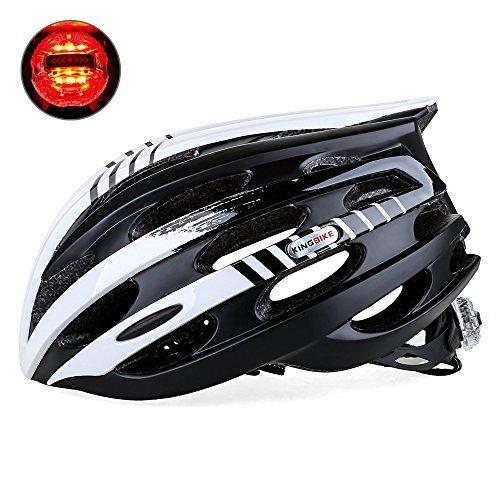 KING BIKE Fahrradhelm Herren Damen Erwachsene Rennrad Sicherheit Hinten mit Licht Einstellbare Größe(Weiß Schwarz)