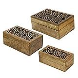 Box Holz geschnitzt icrafts Geometrische Muster/Holz jewelry box/Schmuckkästchen/Andenken/Aufbewahrungsbox 3-teiliges Set braun