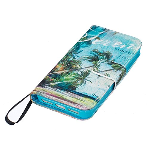 Custodia iPhone 5S,SainCat Custodia in pelle Protettiva Flip Cover per iPhone SE,Anti-Scratch Protettiva Caso Elegante Creativa Dipinto Pattern Design PU Leather Flip Ultra Slim Sottile Morbida Portaf vita