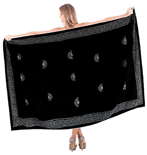 La Leela Bademode swimsuit Badeanzug Bikini Wrap Sarong Kleid vertuschen schwarz (Badeanzug Wraps Sarongs)