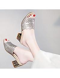 GTVERNH Pantofole Donna Summer Moda Usura 11Cm Senza Tacco Tacco Freddo Drag Duro Resistente All'Acqua Scarpe Con Tacchi…