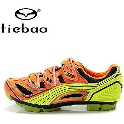 MaMaison007 Bicicleta de la bici de montaña zapatos MTB ciclismo zapatos deportivos zapatos zapatillas-11 naranja y
