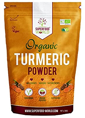 Organic Turmeric Powder | Pure and Potent Anti Inflammatory and Antioxidant Turmeric Powder Superfood with Natural Curcumin | Perfect for Cooking, Smoothies & Golden Milk | Vegan Friendly 300g from Superfood World Ltd