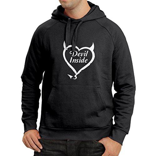 Kapuzenpullover Devil Inside Devil Kostüme lustige Kleidung, Geschenke für Gamer, Cooler Slogan (Large Schwarz Fluoreszierend)