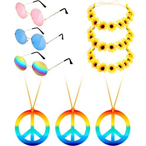 9 Stücke Hippie Kostüm Set, Beinhaltet 3 Stücke Hippie Brille, 3 Stücke Frieden Halsketten, 3 Stücke Gänseblümchen Sonnenblumen Haarbänder für Sommer Tragen (Farbe Set 2)