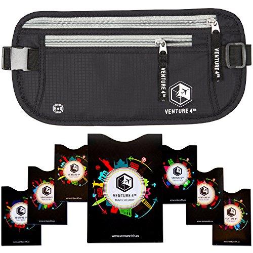 Marsupio Portamonete con Protezione RFID da Viaggio Nascosto Venture4th (Nero + 7 RFID Sleeves)
