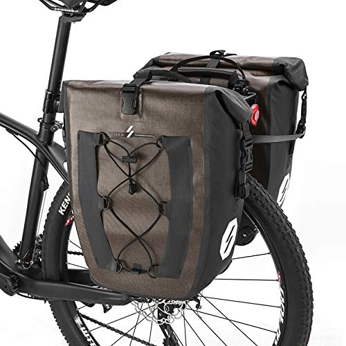 LYCAON Fahrradtasche 27L wasserdichte Gepäckträgertasche Hinterradtasche Fahrradzubehör Fahrrad-Packtasche Gepäckträger Nylon-TPU-Kofferraum mit PA-Schnellverschlüssen (Khaki-2 Pack) -