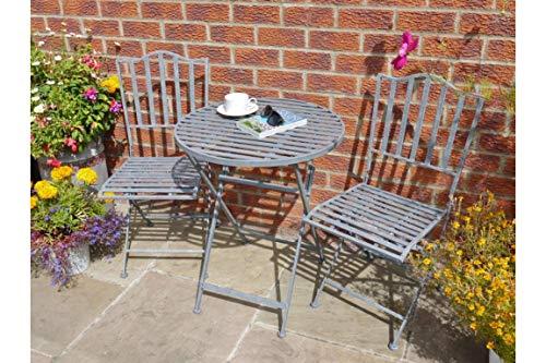 Générique Style Industriel Rustique Gris Métal Pliante Table Ronde et 2 chaises Meubles de Jardin