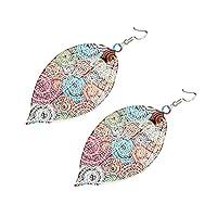 ULTNICE 2 Pairs Leaf Dangle Earrings Metal Leaf Drop Dangle Earrings Handmade Drop Earrings Jewelry for Women Girl Lady