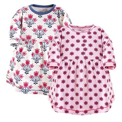 Baby-Mädchen Kleid/Dorical 2Pcs Mädchen Sommer Rundkragen Streifen Drucken Kurzarm T-Shirt Kleid Knielang 0-24 Monate(Rot+Rot-1,9-12 Monate)