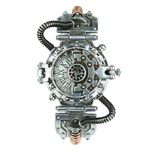 B Baosity Steampunk Punky Reloj de Pulsera de Dial Numérico Romano Antiguo Movimiento de Cuarzo Prop Traje - Blanco 1