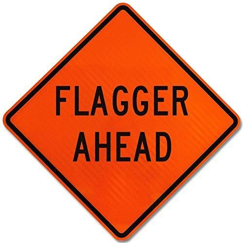 Flagger Ahead-Schild 1 Schild, Metall, Wanring-Schild, Private Property/Danger Safety Sign Schild, 20,3 x 30,5 cm