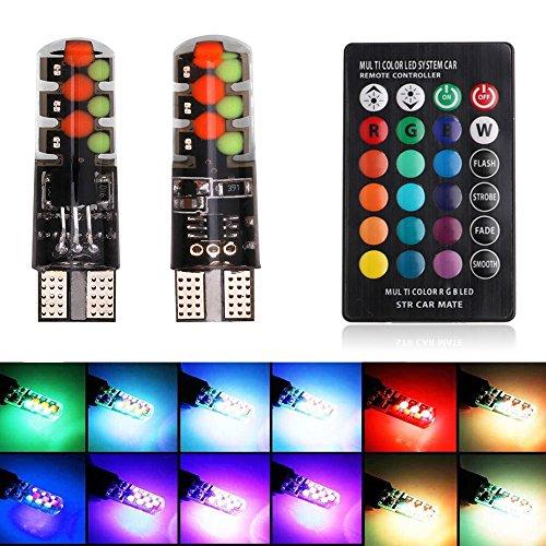 Haichen 1 Lot RGB T10 COB 12smd Multicolore LED Coyote avec télécommande lampe clignotante