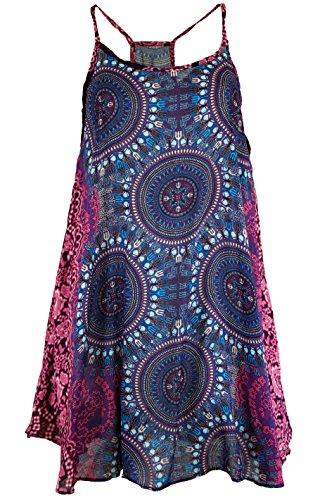Guru-Shop Boho Dashiki Minikleid, Trägerkleid, Strandkleid, Tank Top, Damen, Flieder/Fuchsia, Synthetisch, Size:38, Kurze Kleider Alternative Bekleidung