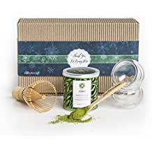 Green tea Matcha set - Amazing Gift beginner kit - Bespoke handcrafted from the eco finest quality materials - The Luxe last minute gift box - the best addition to healthy diet.