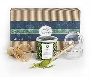 Einzigartiges Grüntee-Geschenkset – Matcha-Anfänger-Set – handgefertigt/ in Handarbeit hergestellt aus feinsten, umweltfreundlichen Materialien höchster Bio-Qualität – Deluxe Last-Minute-Geschenkset/-box – die beste Ergänzung für eine ausgewogenen Ernährung.