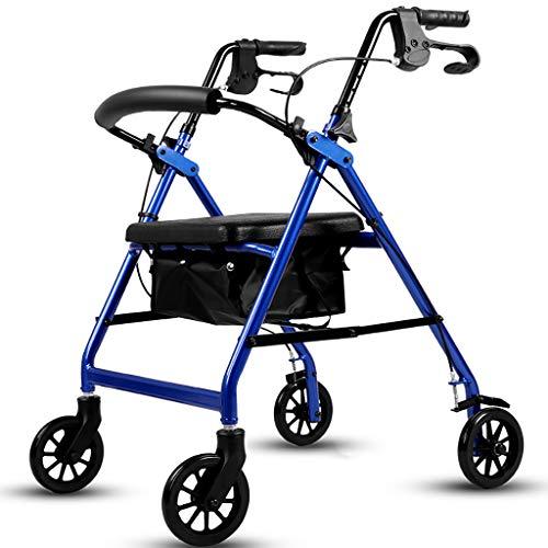 Zfggd andadores de Aluminio Walker Trolley para Mayores con Asiento (Color : Azul)