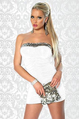 Robe bandeau élastique avec paillettes et les plis a12883 femme weiß (Sw 13)