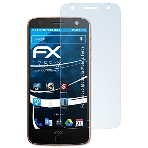 atFolix Schutzfolie kompatibel mit Lenovo Motorola Moto Z Force Folie, ultraklare FX Bildschirmschutzfolie (3X)