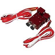 Chimäre Extruder V6 2 Eingänge, 2 Ausgänge Dual-Kopf-Hotend 0.4mm / 1.75mm Für 3D-Drucker - Rot, 12V