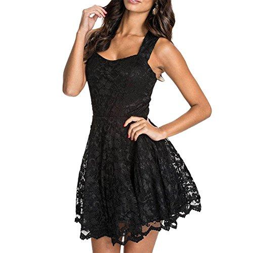 Wonder Pretty Damen Elegant Rückenfreies Spitzenkleid ärmellos Kurze Kleider Ballkleid Cocktailkleid (Halloween Kleid Schwarz)