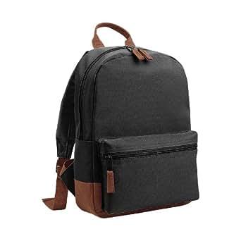 Bagbase Mini Student Backpack / Rucksack Bag (6.5 Litres) (One Size) (Black/Tan)