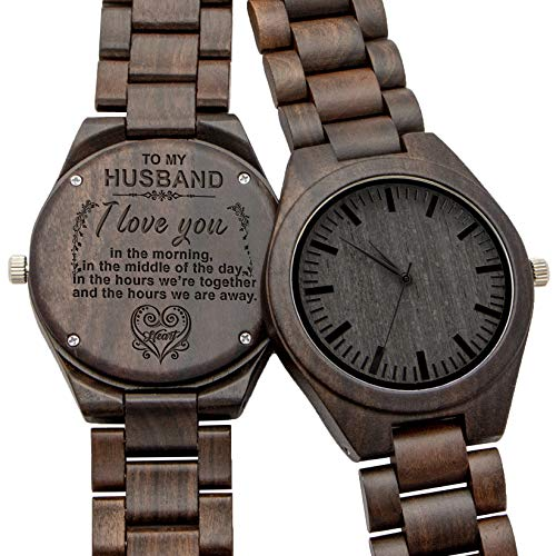 Engraved Wooden Watch for Son and Boyfriend,Personalized Wood Watch Gift for Boyfriend, Graduation Gift from Mom, from Dad (for Husband)