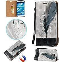 Coque Etui pour Samsung Galaxy S4, Cozy Hut [3D Crystal Coeur Imprimé] Housse Etui à Rabat de Protection en Cuir Véritable pour Samsung Galaxy S4 / i9500 5,0 Pouces, Style de Portefeuille avec Porte-cartes, Fermeture Magnétique et Fonction Support - plume